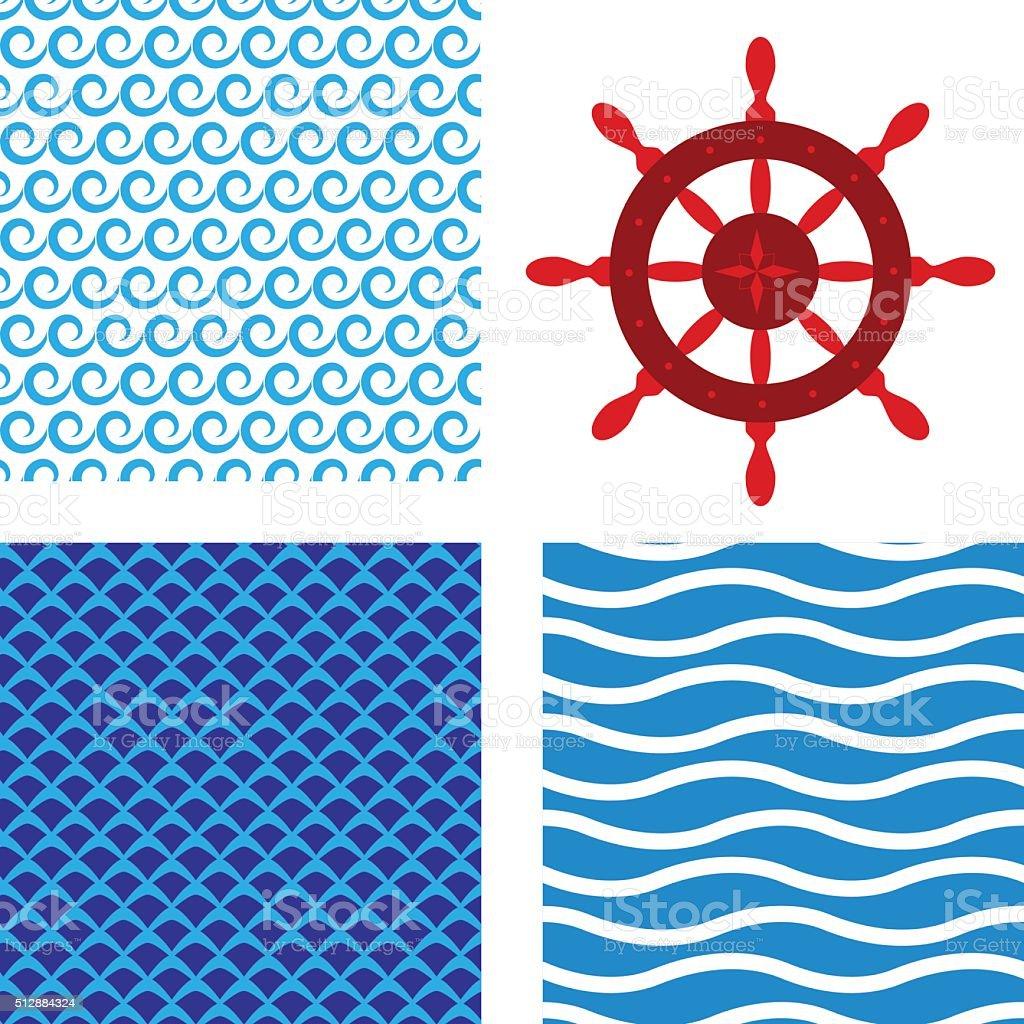 Seamless water pattern with steering wheel vector art illustration