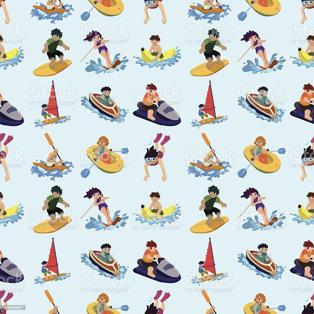 seamless water sport pattern vector art illustration
