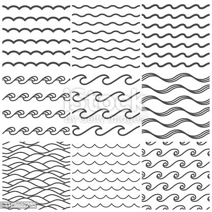 Seamless water waves pattern. Sea wave, ocean waters and wavy lake. Aqua patterns vector background, abstract water ripple. Marine curve line shape isolated symbols collection
