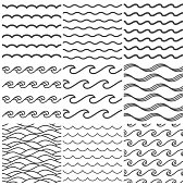 Seamless water waves pattern. Sea wave, ocean waters and wavy lake. Aqua patterns vector background collection