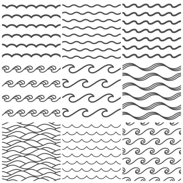 seamless water waves pattern. sea wave, ocean waters and wavy lake. aqua patterns vector background collection - lineart stock illustrations