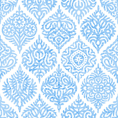 Seamless watercolor blue-white pattern.