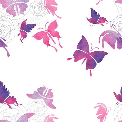 Seamless Watercolor Butterfly Pattern