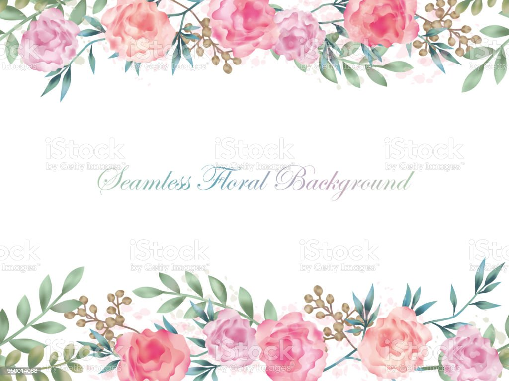 Seamless Watercolor Flower Background Illustration With Text Space
