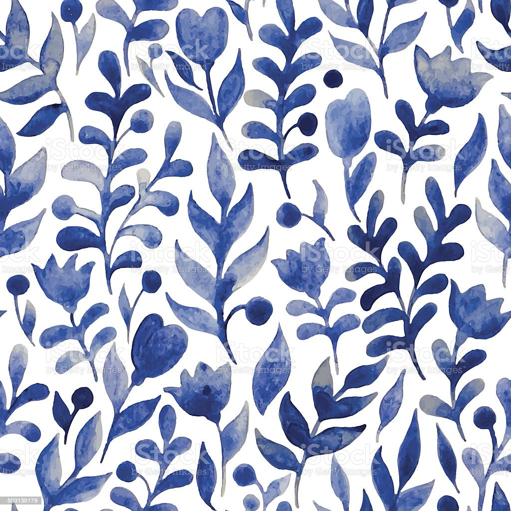 Seamless watercolor hand-drawn pattern vector art illustration
