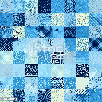 seamless watercolor pattern in patchwork style, ethnic and tribal motifs, set of square elements hand-drawn, blue and white ornament for textiles