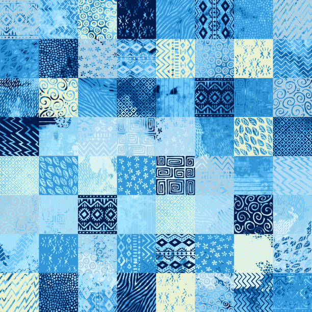 Seamless watercolor pattern in patchwork style. seamless watercolor pattern in patchwork style, ethnic and tribal motifs, set of square elements hand-drawn, blue and white ornament for textiles tapestry stock illustrations