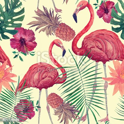 istock Seamless watercolor pattern with flamingo, leaves, flowers. Hanad drawn vector. 621118164