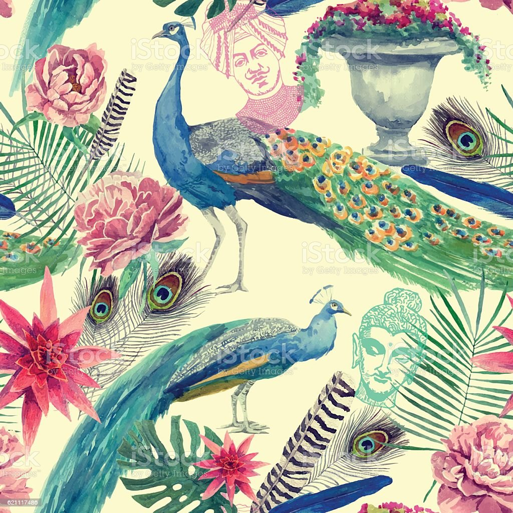 Seamless watercolor pattern with peacocks. Hand drawn vector. vector art illustration