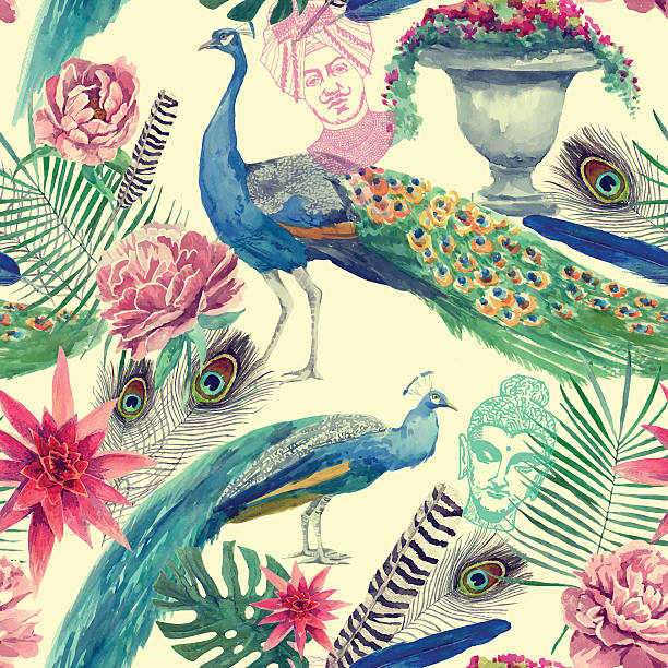 Seamless watercolor pattern with peacocks. Hand drawn vector. - ilustración de arte vectorial