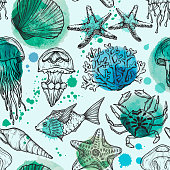 Seamless watercolor pattern with sketch of sea shells, fish, corals and jellyfish. Hand Drawn vector background