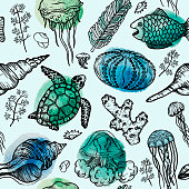 Seamless watercolor pattern with sketch of sea shells, turtle, corals and jellyfish. Hand Drawn vector background