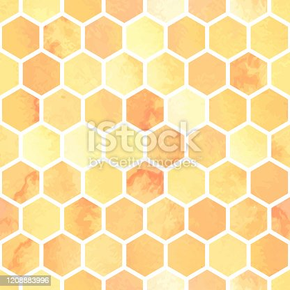 istock Seamless watercolor pattern with yellow honeycomb polygons. Hexagon abstract background 1208883996