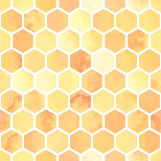 illustrazioni stock, clip art, cartoni animati e icone di tendenza di seamless watercolor pattern with yellow honeycomb polygons. hexagon abstract background - favo