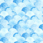 seamless watercolor scales blue pattern