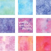 Set of seamless watercolor texture swatches.