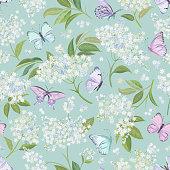 istock Seamless watercolor white elderberry floral background. Spring elderflower and butterflies pattern template vector. Summer flowers wedding design illustration 1297172410