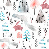 Seamless watercolor woodland pattern. Creative childish texture Perfect for fabric,textile