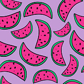 Seamless watermelon hand drawn doodle summer pattern