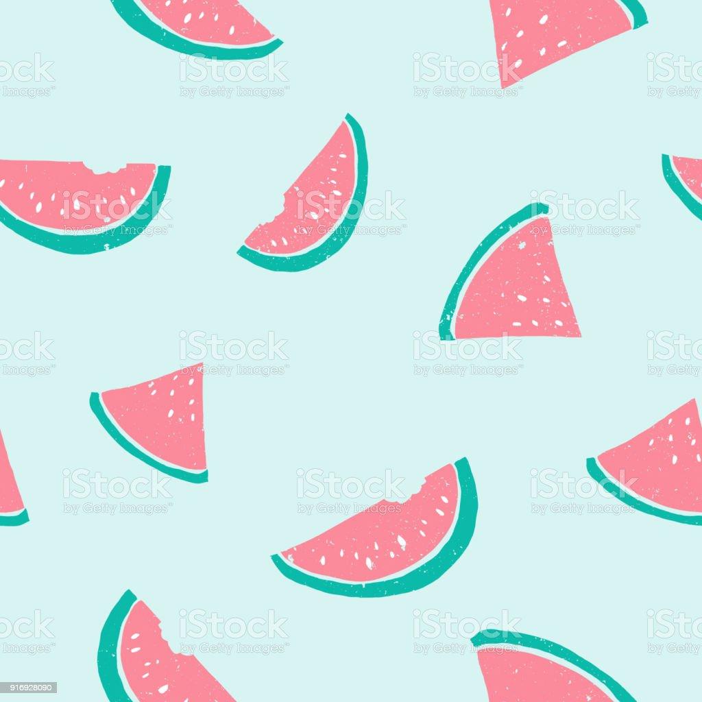Seamless Watermelon Pattern Cute Pastel Light Colors Pink Blue