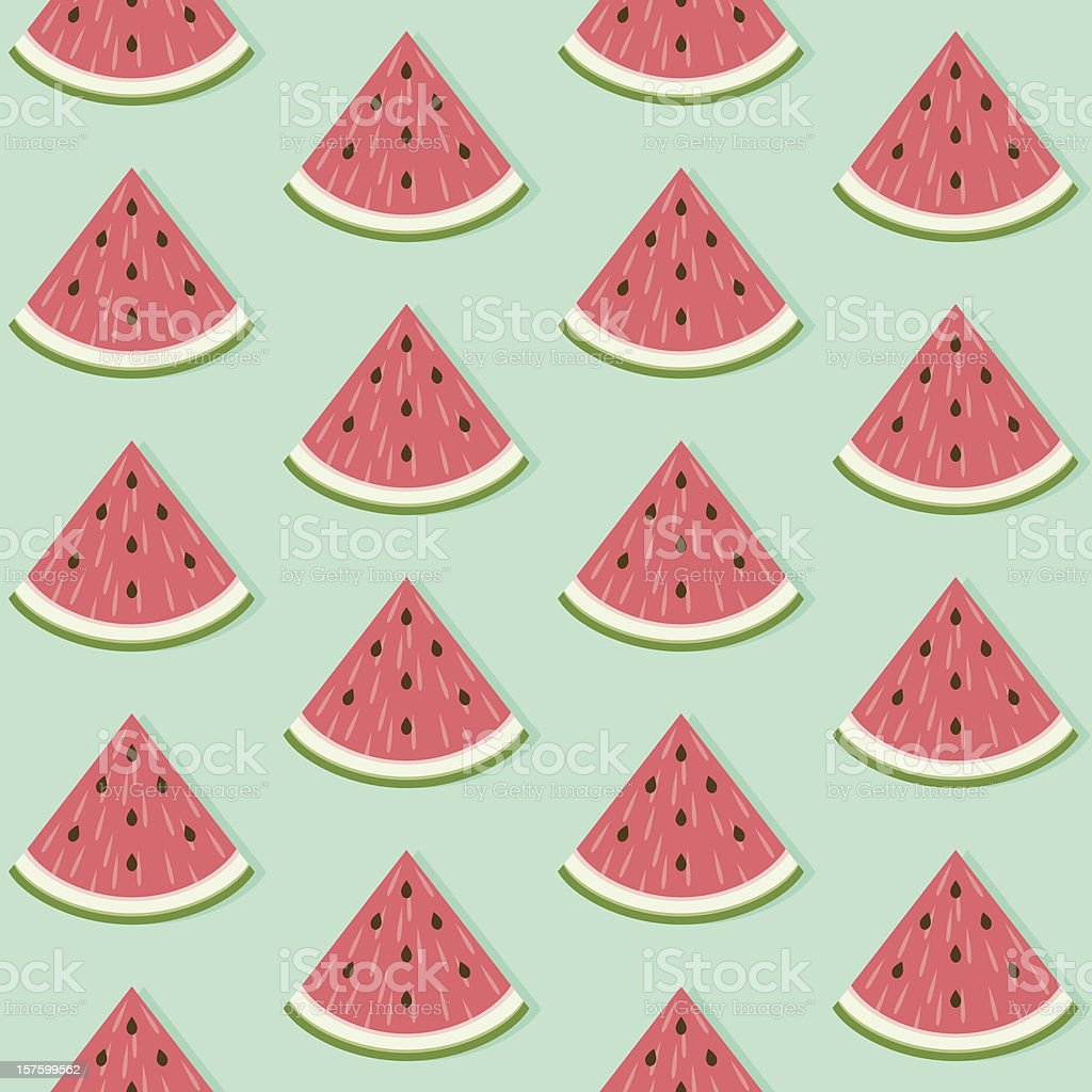 Seamless Watermelon Slice Pattern royalty-free stock vector art