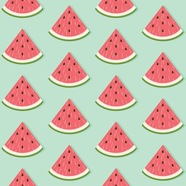 nahtlose muster mit wassermelone slice - scheibe portion stock-grafiken, -clipart, -cartoons und -symbole