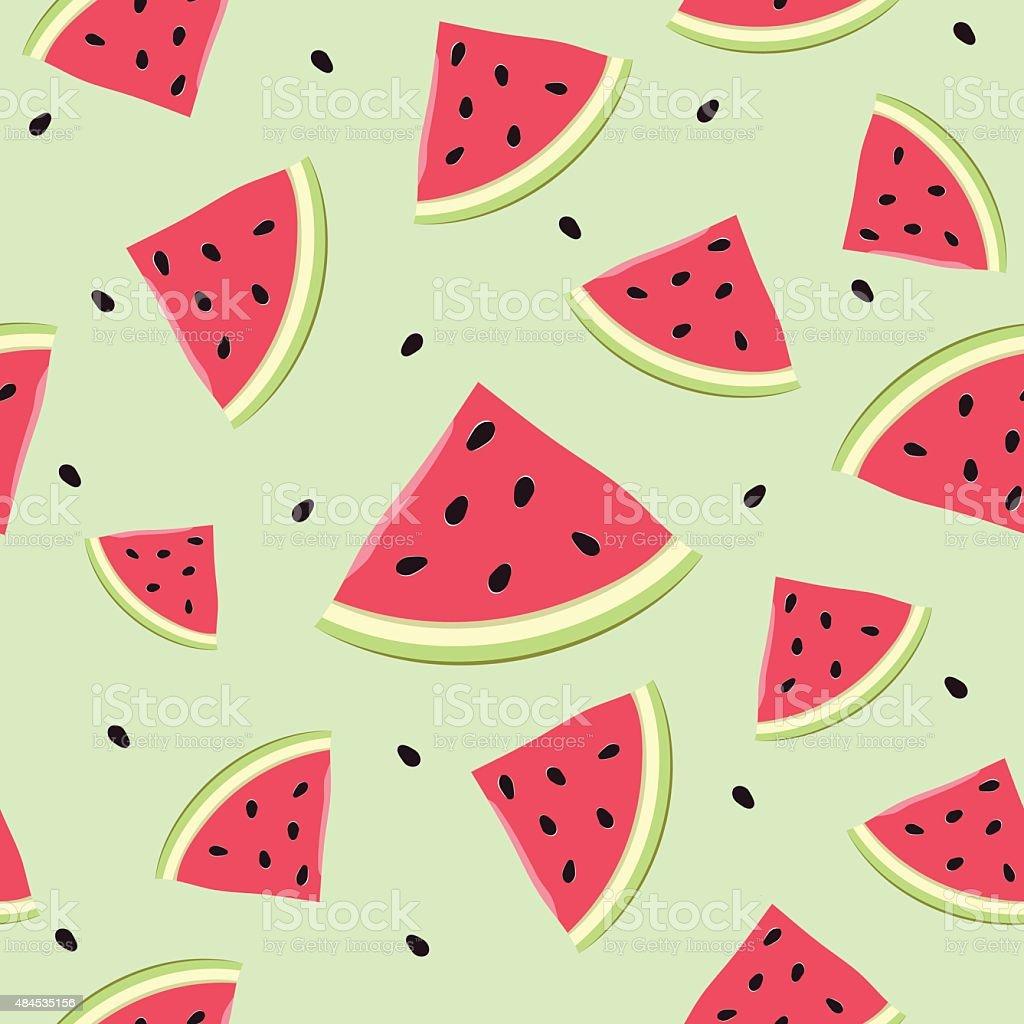 Seamless watermelon slices vector art illustration