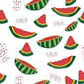 Seamless watermelons pattern. watermelon slices. Juicy ripe fruit on blue retro background. For art texture, web design, web background, fabric, wallpaper, apparel, wrapping, and textile.Vector EPS10