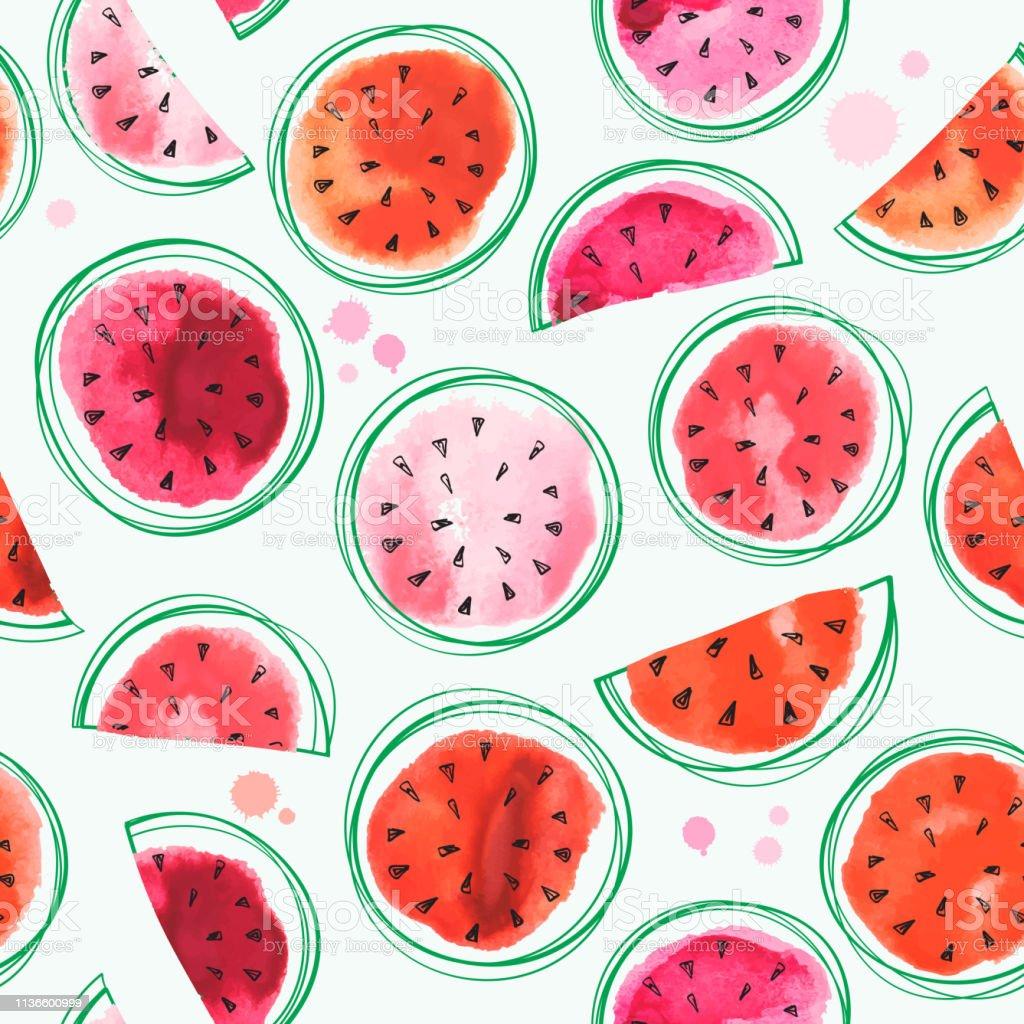 Naadloze watermeloenen patroon met aquarel watermeloen - Royalty-free Achtergrond - Thema vectorkunst