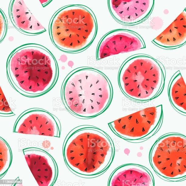 Naadloze Watermeloenen Patroon Met Aquarel Watermeloen Stockvectorkunst en meer beelden van Achtergrond - Thema
