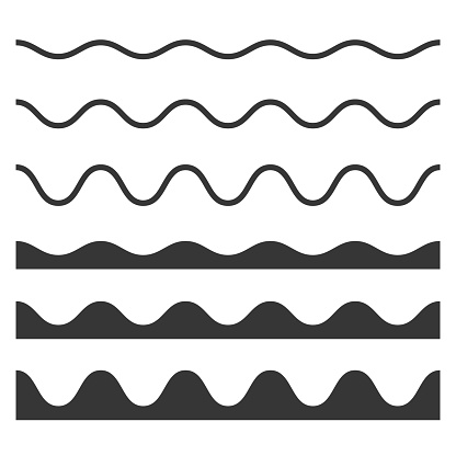 Seamless Wave and Zigzag Pattern Set on White Background. Vector