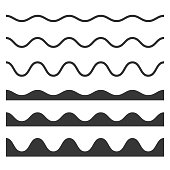Seamless Wave and Zigzag Pattern Set on White Background. Vector illustration