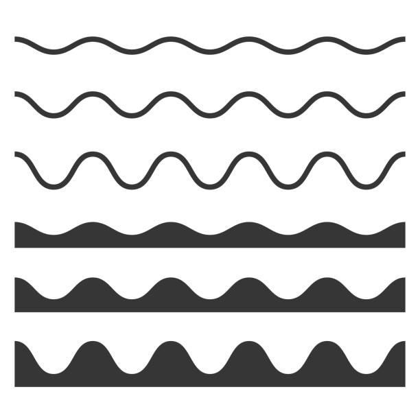 bezszwowe wave i zygzakowaty wzór ustawiony na białym tle. wektor - linia stock illustrations
