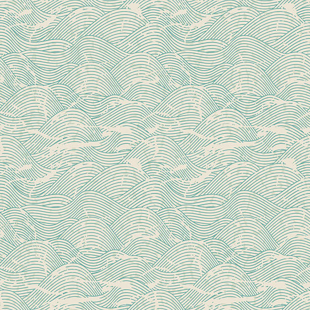 seamless wave pattern in blue and white colors - vintage nature stock illustrations, clip art, cartoons, & icons