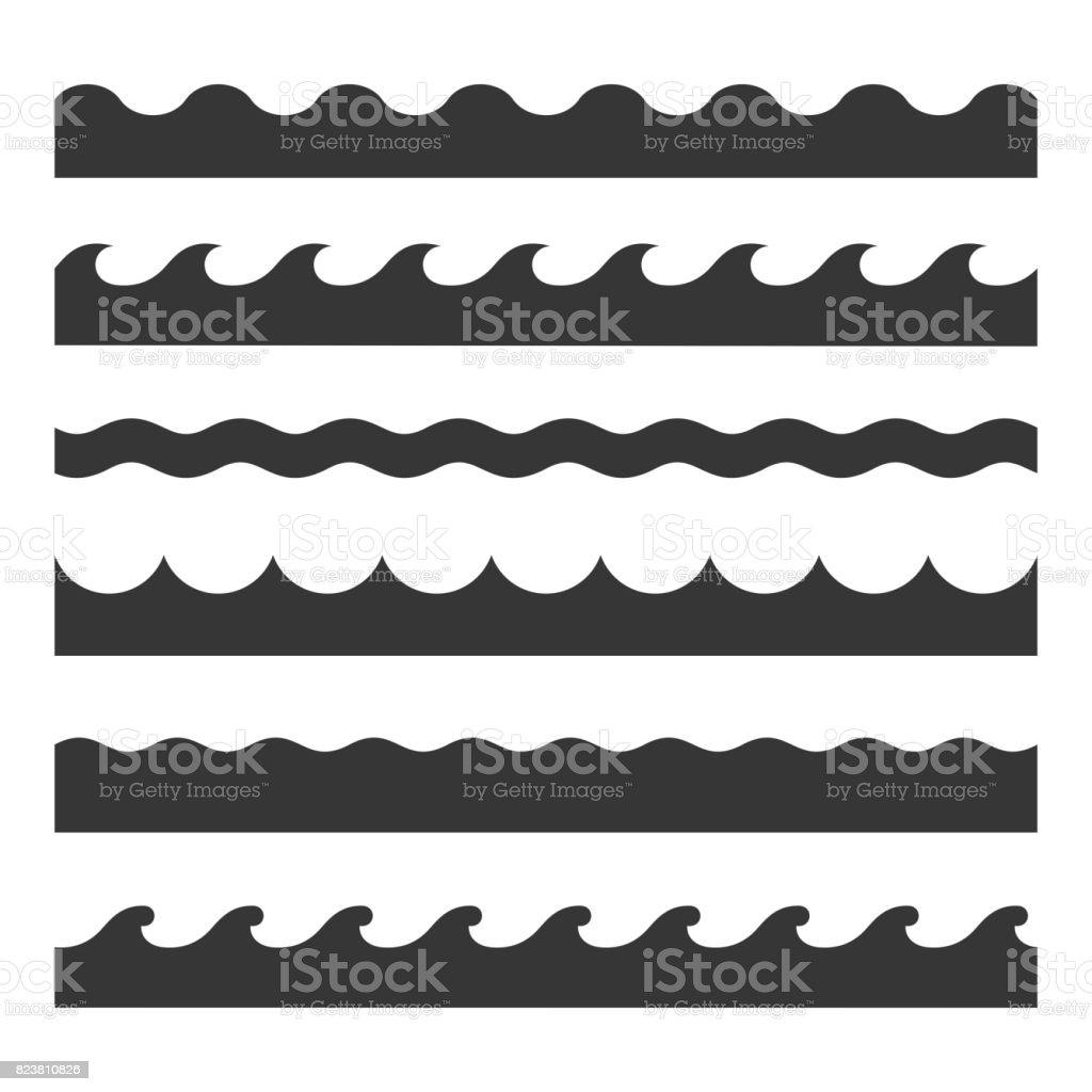 Nahtlose Welle Musterset Vektorvorlage Stock Vektor Art und mehr ...