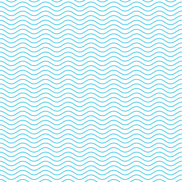 Seamless wave pattern. Blue and white seamless wave pattern. Linear waves background. Abstract geometric ornament. Sea or ocean texture. Vector illustration in flat style. EPS 10. in a row stock illustrations