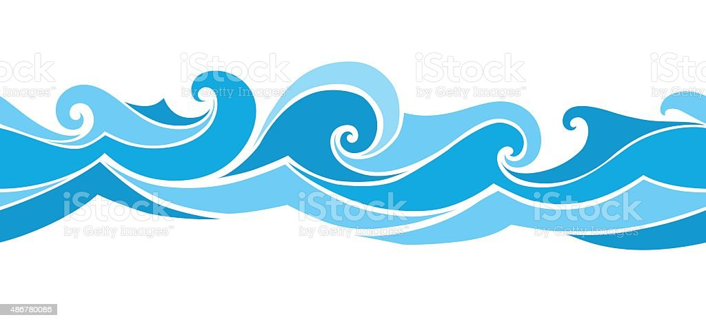 seamless waves from element of the design vector art illustration