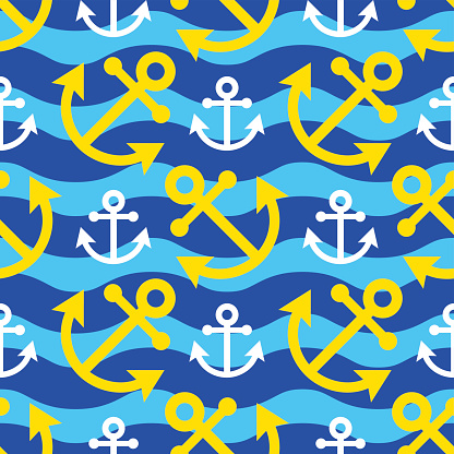 seamless waves illustration - white, yellow anchor