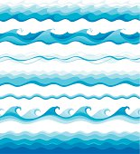 Vector collection of seamless waves