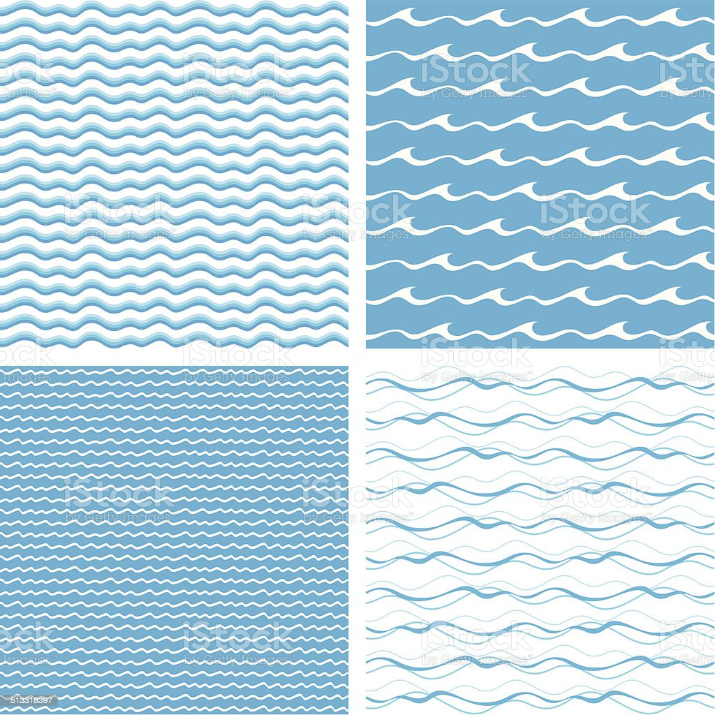 Seamless waves vector art illustration