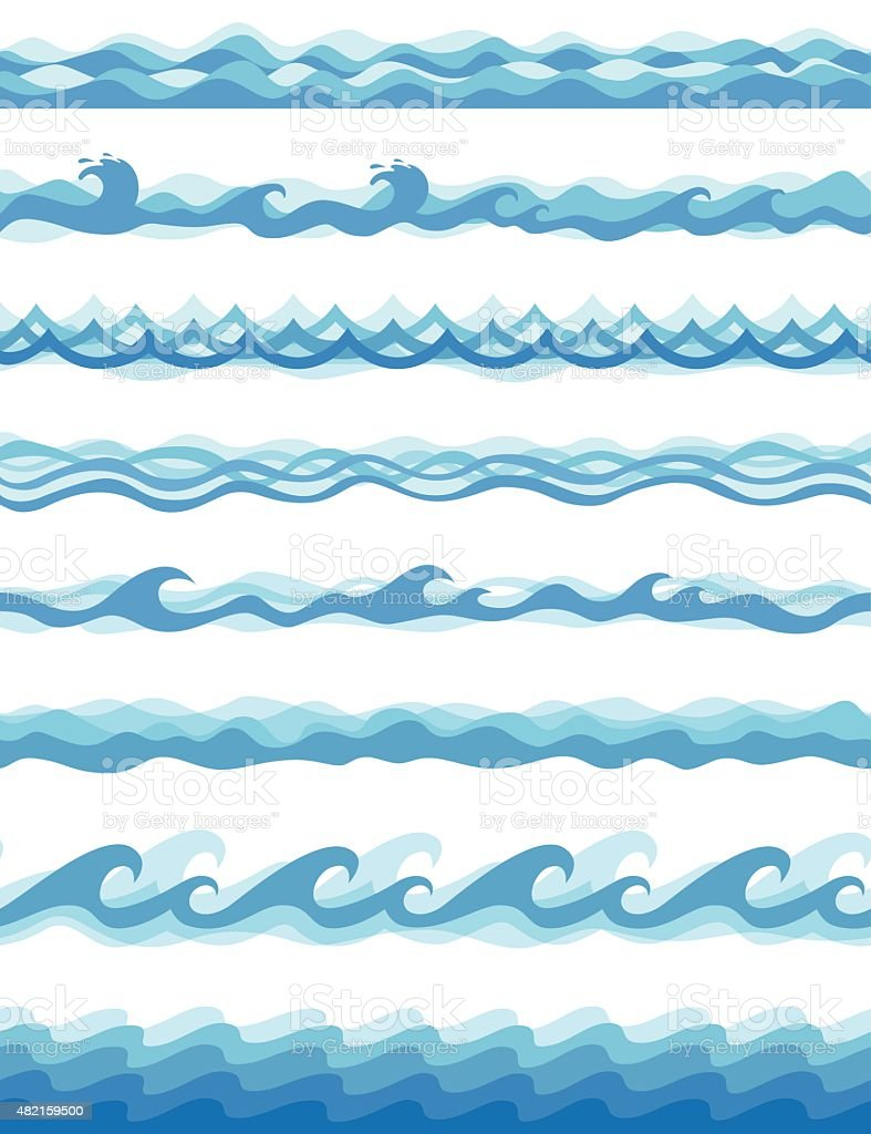 Seamless Waves - Vector vector art illustration