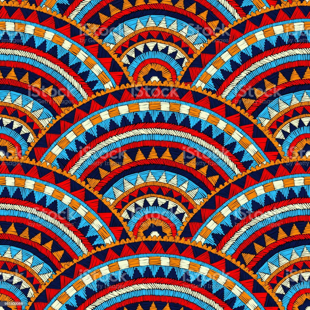 Seamless wavy embroidered pattern.