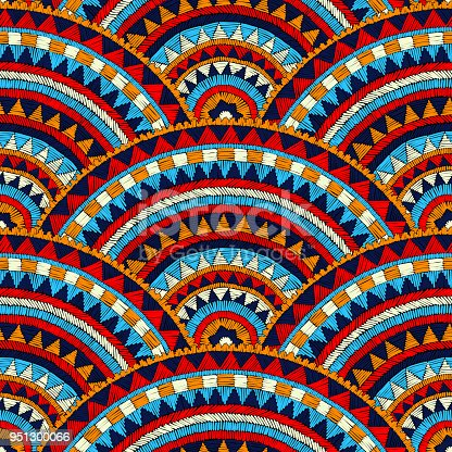 seamless wavy embroidered pattern, handmade, blue, red, white and orange colors, prints for textiles, ethnic and tribal motifs, complex patchwork ornament, vector illustration
