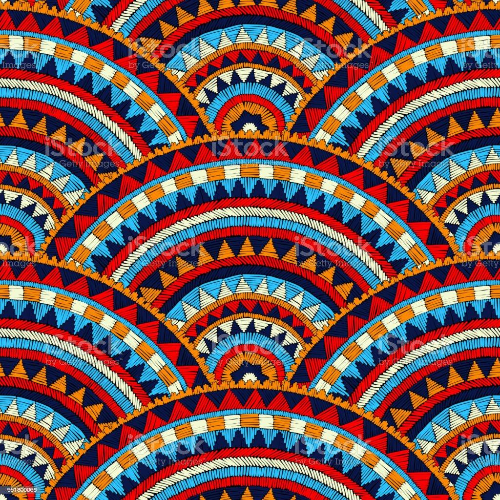 Sin fisuras patrón bordado ondulado. - ilustración de arte vectorial