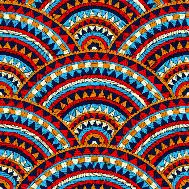 Seamless wavy embroidered pattern. vector art illustration