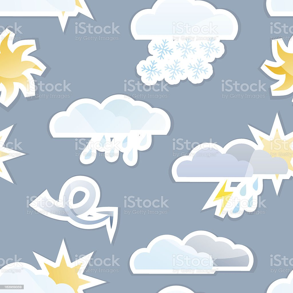 Seamless Weather Sticker Background Tile royalty-free stock vector art