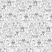 istock Seamless wedding hand drawn doodle pattern 497964104