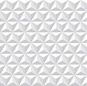 Seamless white 3d pattern. Geometric hexagons, diamonds and triangles texture. Vector art.