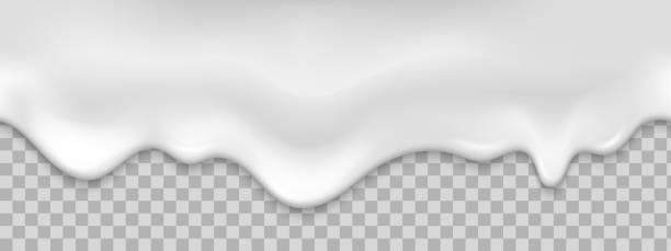 stockillustraties, clipart, cartoons en iconen met naadloze witte romige druppelt. realistische vectorillustratie. - suikerglazuur