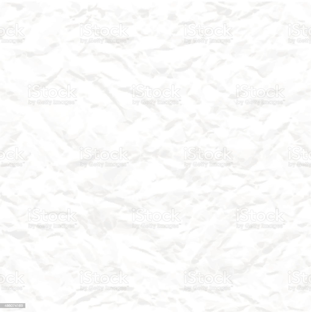 Seamless white crumpled paper texture vector art illustration